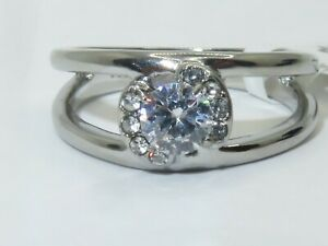 Ladies silver ring band solitaire simulate diamonds stainless steel 3245