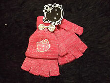Hello Kitty Fingerless Mittens Gloves stretch pull back cover 1 size new pink