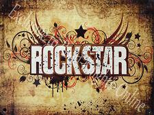 Rockstar Camera Da Letto Porta Placca Chitarra Musica Ragazzo Bambina