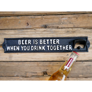 Cast Iron Bottle Opener Wall Mounted Novelty Wall Sign With Beer Bottle Opener