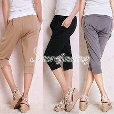 SALE Grey Knee Length Ice Silk One Size Loose Trousers, Sports Lady Summer Gift
