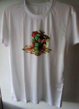 Melting Cube Round Crew Neck T-Shirt Medium White & Multi-color Short Sleeve