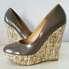 STEVE MADDEN Taupe/Brown Patent ELLI Platform Pump w/ Woven Wedge Heels Size 9