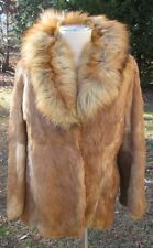 Vintage Women's REAL FUR Red Rabbit & Fox Collar Jacket S-M