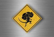 Autocollant sticker laptop macbook panneau route safari attention lezard