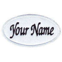 Oval Custom Embroidered Name / Text Tag Patch (G)