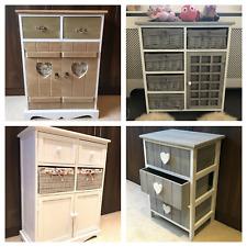 Storage Unit Chest of Drawers Wicker Baskets Assembled Bedside Cabinet Bedroom