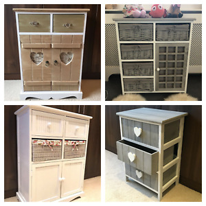 Storage Unit Chest of Drawers Wicker Baskets Assembled Bedside Cabinet Bedroom
