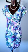 Wallis blue green purple white floral stretch tunic dress size 14 petite