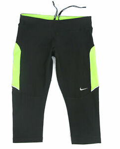 Nike Skinny Running Workout Yoga Leggings Womens Sz XS Black w Drawstring