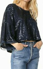 Free People Navy Blue Sequin Jewel Batwing Dolman Blouse Top- Size M