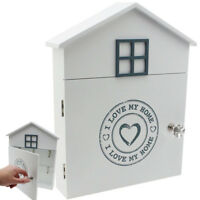 LOVE MY HOME WOODEN KEY BOX CABINET WALL MOUNTED KEYS HOOKS STORAGE HOLDER