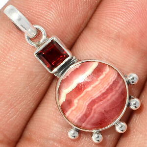 Rhodochrosite, Argentina & Garnet 925 Silver Pendant Jewelry BP74553 229K