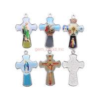 10Pcs Holy Catholic Religious Crosses Enamel Medals Charms  Pendants 52mm