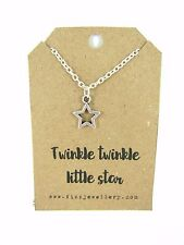 "Twinkle Twinkle Little Star Silver Plated 18"" Necklace New Gift Card Quote"