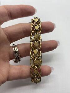 Vintage Monet Signed Gold Tone Wide Chain Bracelet #FB29