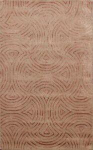 Modern SWIRL MOCHA/ COPPER Indian Hand-tufted Area Rug Wool/ Silk Carpet 4x6 ft