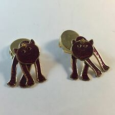 3D Cuff Link / Button Cover Hand Painted Gold / Purple CAT For Cat Lover