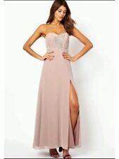 Bnwt🌹Lipsy Vip🌹Size 8 Nude/Neutral Embellished Bandeau Maxi Dress Prom New