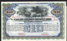 Chilean 19xx Caja Credito Hipotecario RARE 10 $ Pesos SPECIMEN Bond Share Loan
