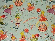 "Vtg Happy Birthday Wrapping Paper Gift Wrap 20"" X 30"" Sheet Nos Boys Girls Cake"