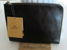PATRICIA NASH Black Nicola Genuine Leather Tablet Case Organizer A01801 NWT $129
