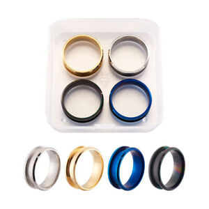 4pcs/Set Stainless Steel Inlay Ring Setting Blanks 4-Color Grooved Cores Size-10
