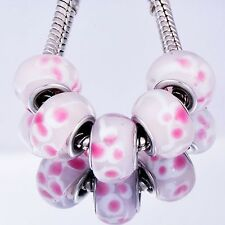 5Pcs GF Silver Pink Crystal MURANO glass lampwork european beads 10mm