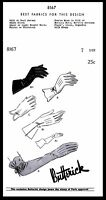 BUTTERICK 8167 GLOVES Fabric Sewing Pattern Women's Vintage 40's Size 7