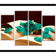 Teal Rose Floral Split Canvas Wall Art Pictures Wide XL Print Flower Gift xmas