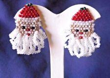 CUTE BEADED SANTA CLAUS FACE CLIP-ON EARRINGS  CHRISTMAS