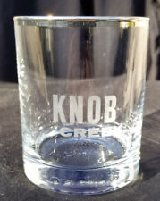 ONE ETCHED KNOB CREEK WHISKEY ROUND TUMBLER GLASS SILVER RIM NEW FREE SHIPPING!