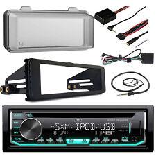 JVC CD USB Receiver, Harley Install 98-13 FLHT Adapter Radio Kit, Cover, Antenna