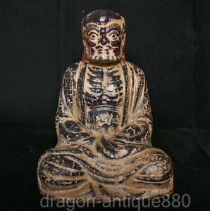 """9.8"""" Old Chinese Red Amber Carved Arhat Damo Bodhidharma Dharma Buddha Sculpture"""