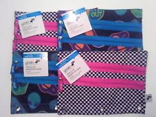 Yoobi Triple Zip 3 Ring Binder Case 2 Space Design 2 Checkered With Tags 4 Lot