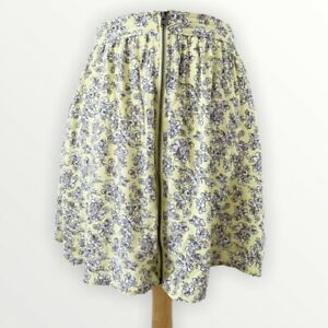 NEW ABERCROMBIE & FITCH Skirt S 8 10 Floral Cottagecore Mini Yellow Full Zip