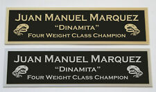 Juan Manuel Marquez nameplate for signed boxing gloves trunks photo