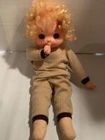 "Vintage Big Eyes Baby Soft Body Rubber Thumb Sucking Hong Kong Doll 18"" Tall"