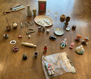 50 pcs Vintage Doll House miniatures 1 MIP soda cans brass metal silverware toys