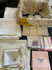 Huge Lot 50+ Vtg Doilies Runners Antique Linens Embroidered Hankies Crochet Lace