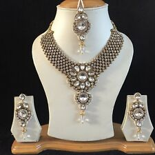 CLEAR GOLD KUNDAN INDIAN COSTUME JEWELLERY NECKLACE EARRINGS CRYSTAL SET NEW 415