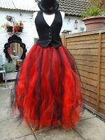 CLASSY tutu skirt black red Long adult goth petticoat prom gypsy tulle steampunk