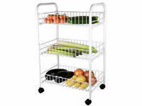 3 Tier Fruit Trolley Basket Rack Kitchen Storage Vegetable Cart With Wheels Whit