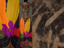 (10,80 €/m) 150 cm Rapport STOFF CHIFFON Blume Blumenmuster braun