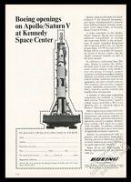1967 NASA Apollo Saturn V rocket photo Boeing engineer recruitment print ad