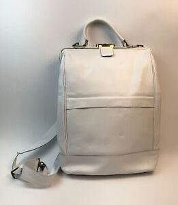 Leather Canvas Backpack Bag White 16 x 14 inch NWOT
