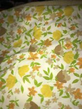 Vintage Floral Pair Of Standard Pillowcase Mcm Monticello Yellow Green Brown