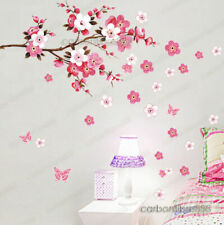 Large Peach Blossom Flower Wall Stickers Butterfly Art Decal Home Room Decor