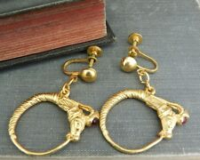 Vintage Yellow Gold Tone Circus Horse Earrings