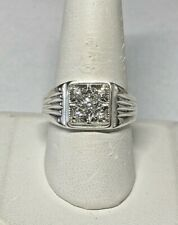 Sterling Silver & 14 Karat White Gold Genuine 1/5 Carat TW Diamond Man's Ring